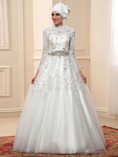 Long Sleeves Sequins Appliques Muslim Wedding Dress