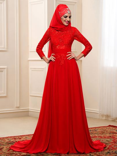 Red Lace Chiffon Bowknot Long Sleeve Muslim Wedding Dress