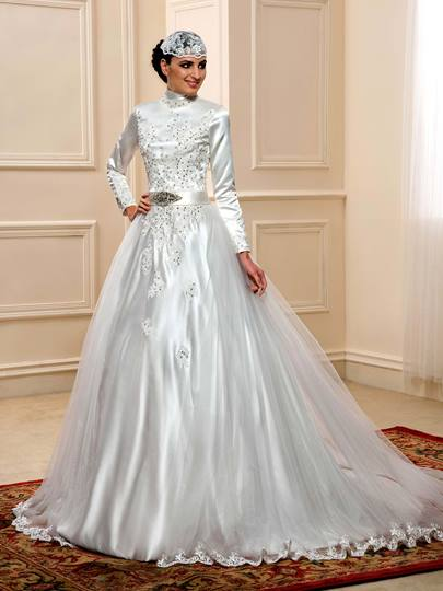 High Neck Appliques Sequins Muslim Wedding Dress