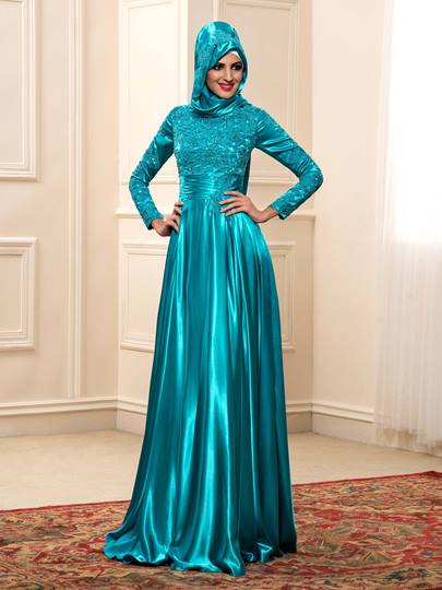Long Sleeve Charmeuse Appliques Muslim Wedding Dress in Color