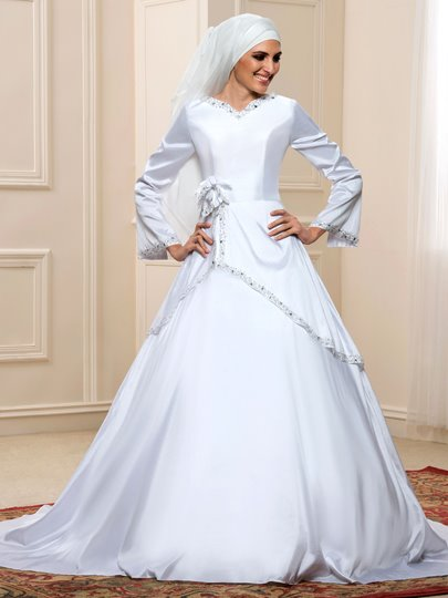 White Taffeta Long Sleeve Sequins Muslim Arabic Wedding Dress