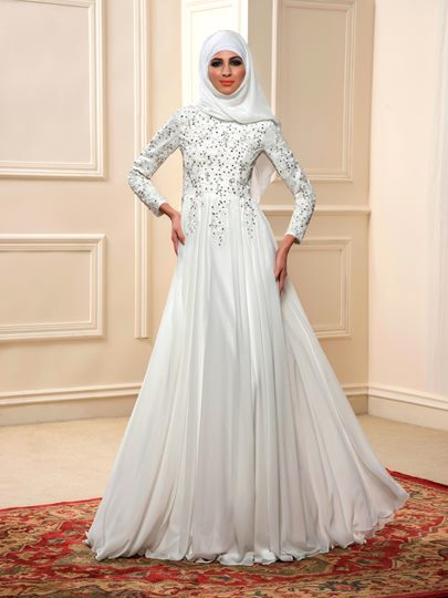 Arabic Beading Chiffon Long Sleeve A-Line Wedding Dress with Hijab