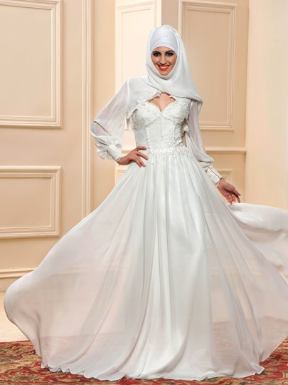 Appliques Muslim Wedding Dress with Hijab