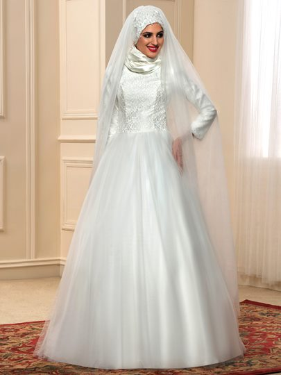 Lace Tulle Long Sleeve A-Line Arabic Muslim Wedding Dress