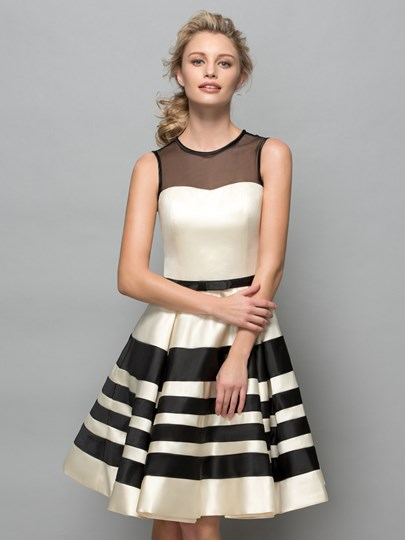 A-Line Sheer Neck Stripes Cocktail Dress