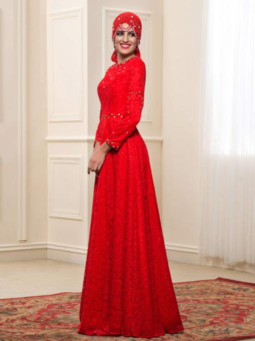 Long Sleeve Beaded Lace Red Muslim Wedding Dress