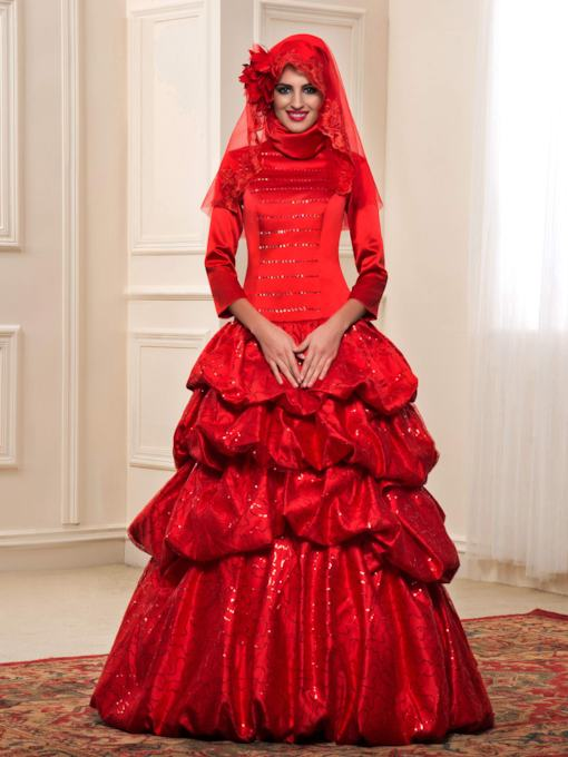 Pick-Ups Sequins Sleeves Red Muslim Wedding Dress