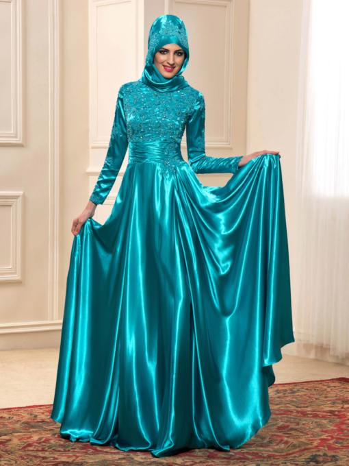 Long Sleeve Appliques Muslim Wedding Dress