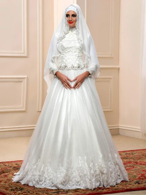 Sequins Beaded Lace Muslim Wedding Dress with Hijab