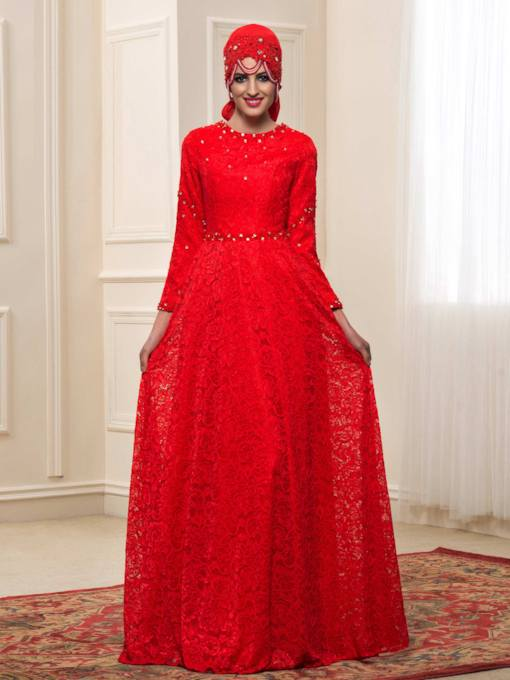 Beaded Lace Red Muslim Wedding Dress