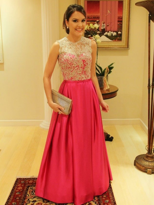 A-line Jewel Neck Appliques Ribbons Floor-Length Evening Dress