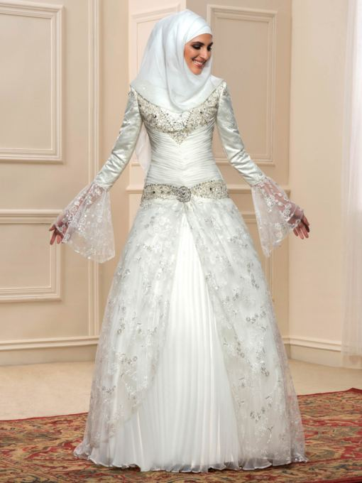 Sequins Beading Lace A-Line Long Sleeve Muslim Arabic Wedding Dress