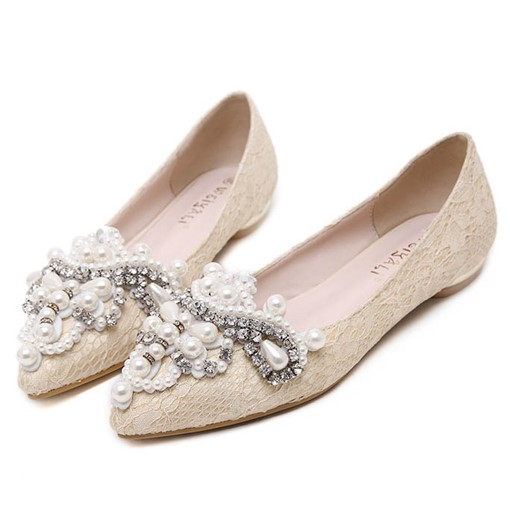 Pointed Toe Slip-On Rhinestone Bead Women's Flats