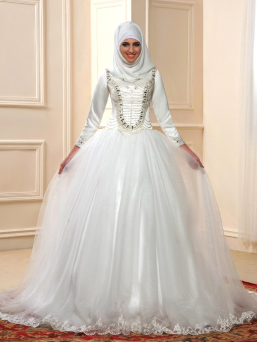 Beading A-Line Muslim Wedding Dress with Hijab