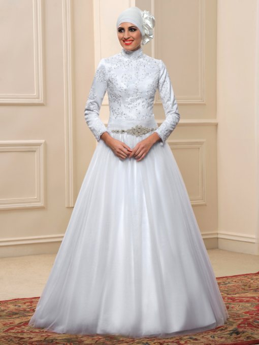 High Neck Appliques Sequins Long Sleeve Muslim Wedding Dress