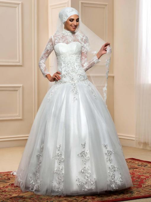 Arabic Lace Tulle Long Sleeves SequinsTrumpet Muslim Wedding Dress
