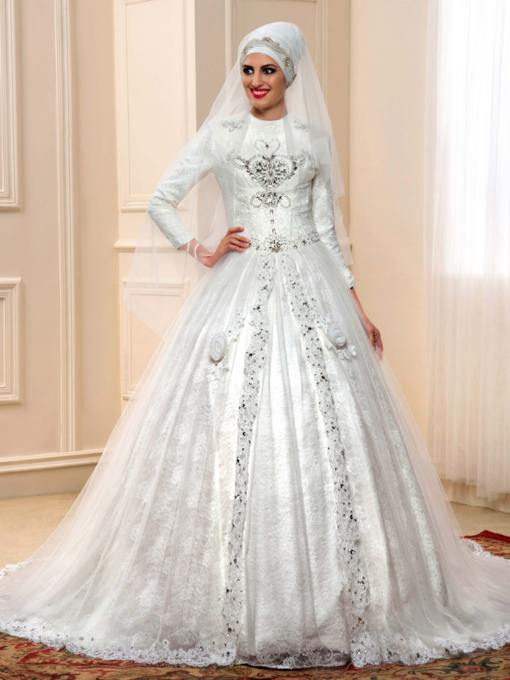 Islamic Beading Lace Chapel Train Royal Muslim Wedding Dress