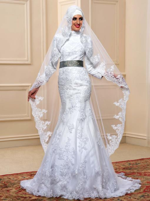 Long Sleeves Beading Lace Trumpet/Mermaid Muslim Arabic Wedding Dress