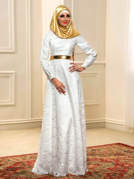 Lace Long Sleeve Muslim Wedding Dress with Hijab