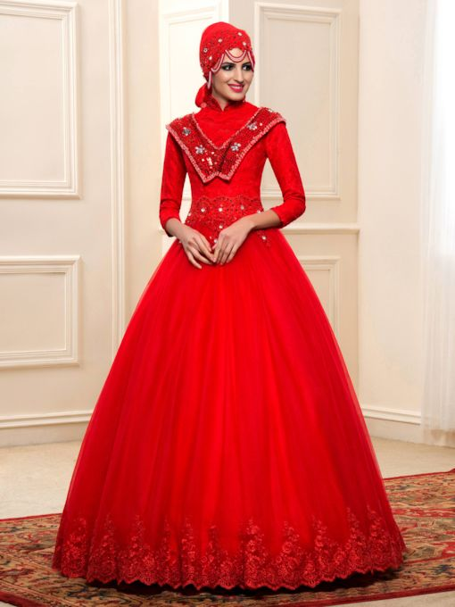 Beading Red Lace Arabic Wedding Dress with Hijab