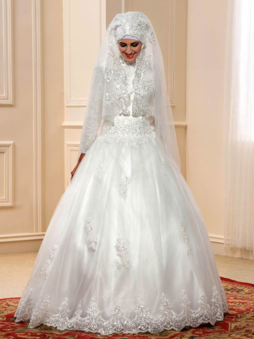 Sequins Appliques Long Sleeves Ball Gown Muslim Wedding Dress