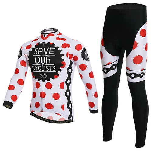 Spot Printed Long Sleeve Soft Shell Stretchable Men's Cycling Suit (Plus Size Available)