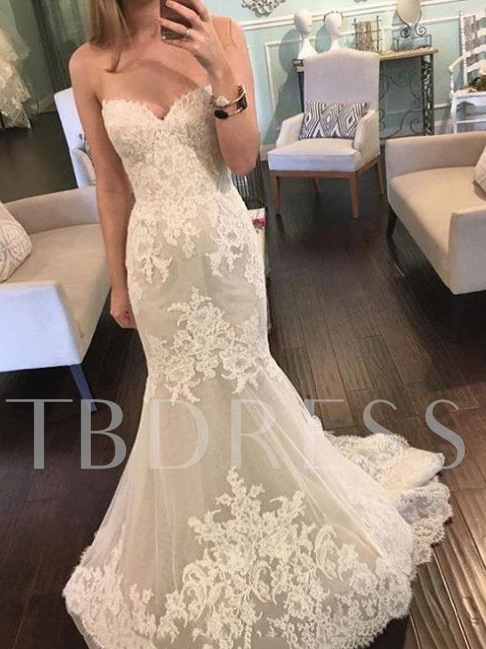 Image of Lace Appliques Mermaid Wedding Dress