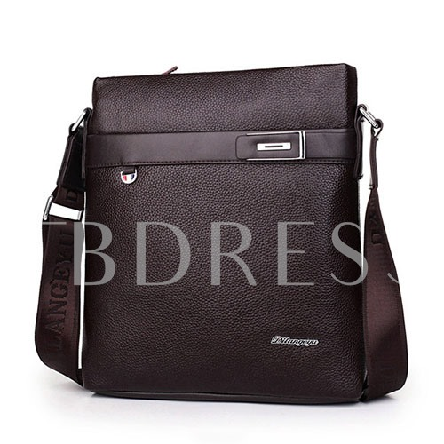 Litchi With Belt Interior Zipper Pocket Men's Messenger Bag