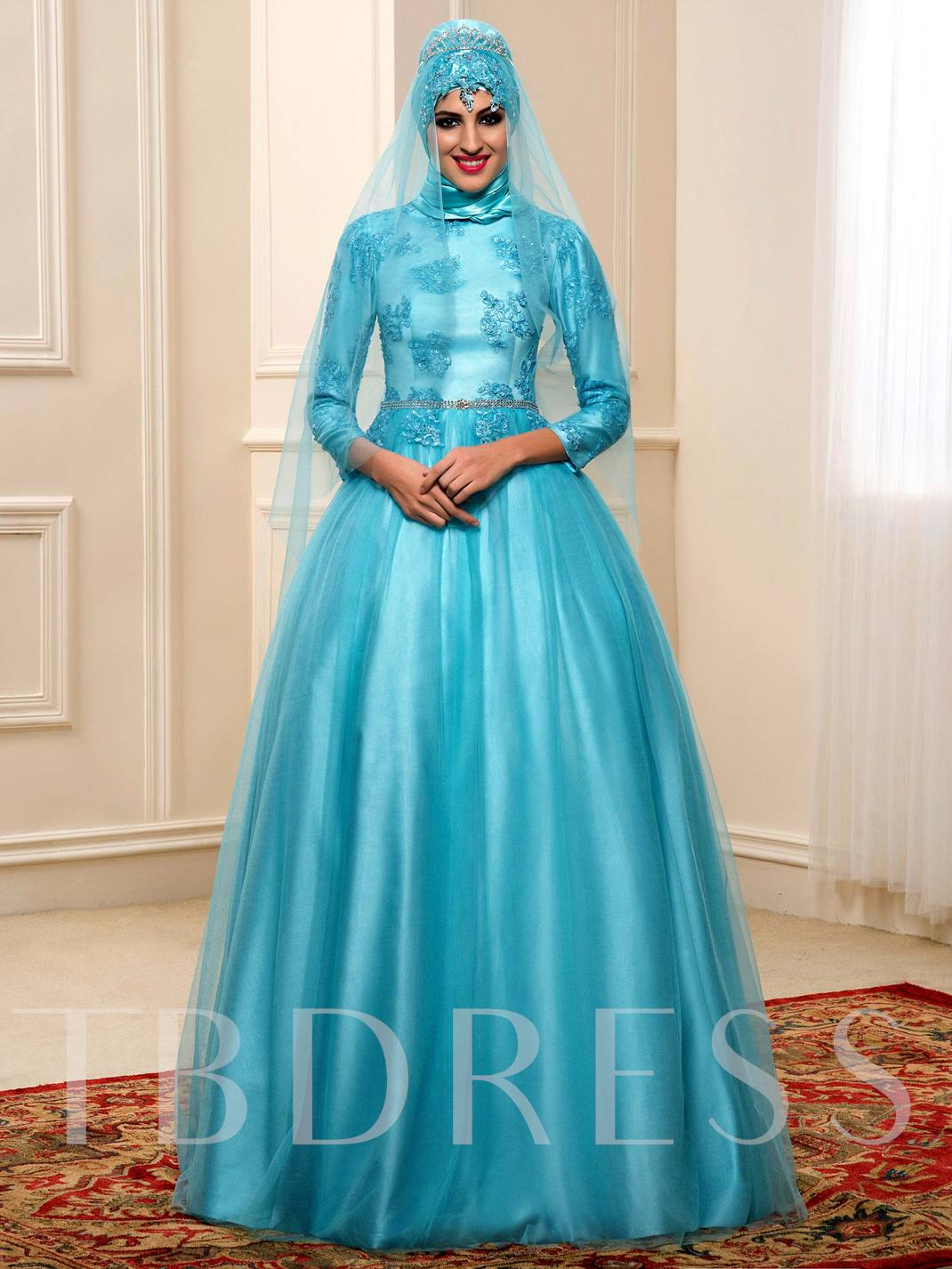 A-Line Appliques Tulle Muslim Arabic Wedding Dress in Color ...