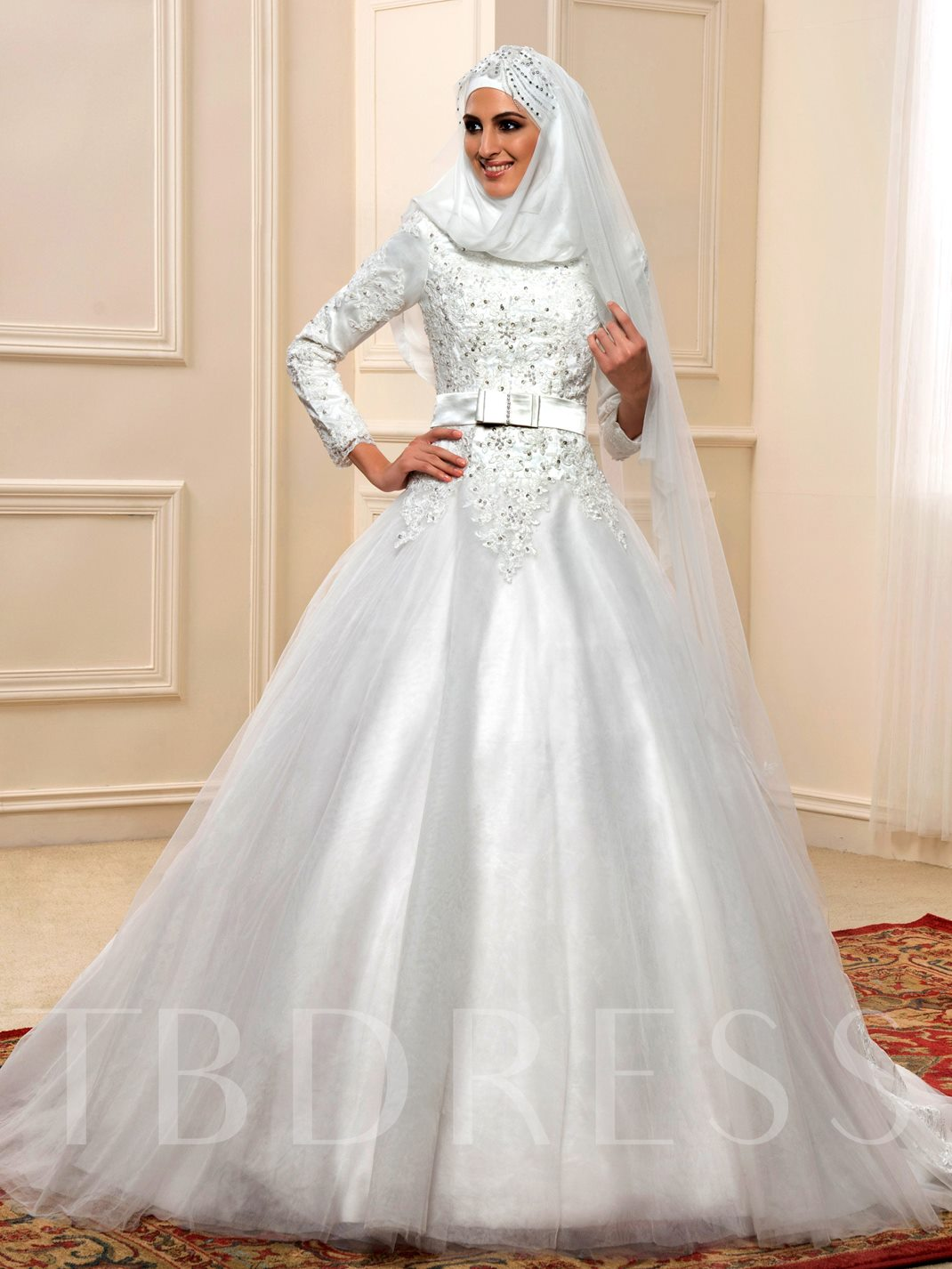 Long Sleeve Ball Gown Beaded Lace Muslim Arabic Wedding Dress ...