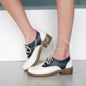 Round Toe Square Heel Lace-Up Front Color Block Women's Flats