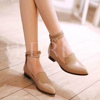 Pointed Toe Square Heel Cross Strap Flat Heel Women's Flats