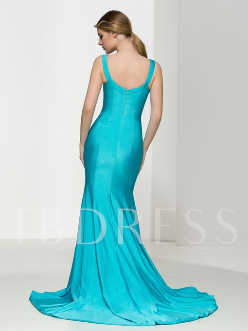 Straps Ruches Court Train Evening Dress