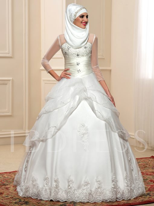 Sleeves Beaded Tiered Muslim Wedding Dress