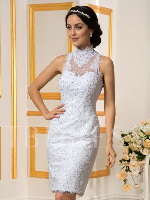 High Neck Lace Wedding Dress with Detachable Train