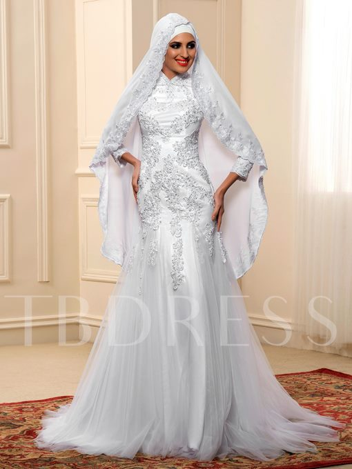 Long Sleeve Lace Tulle Mermaid Muslim Wedding Dress