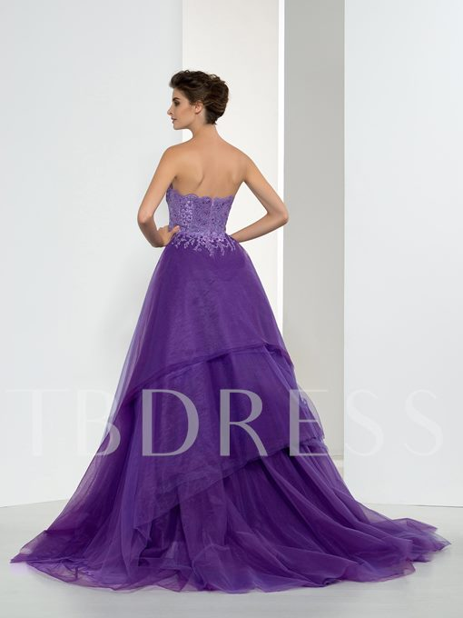 A-Line Sweetheart Beading Lace Long Evening Dress