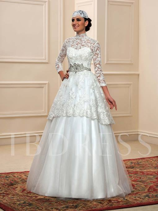 High Neck 3/4 Length Sleeve Lace A-Line Muslim Wedding Dress