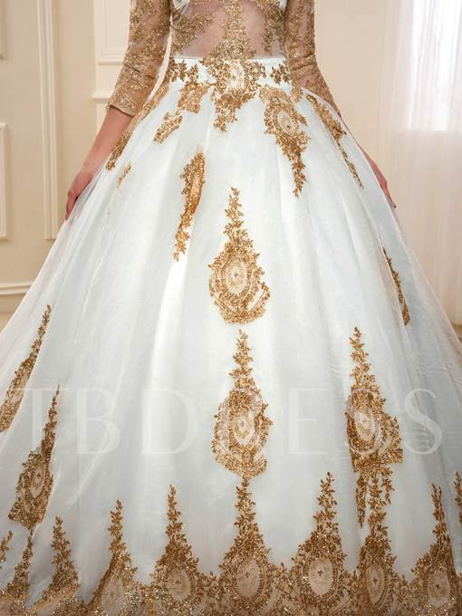 Sequined Appliques Ball Gown Muslim Wedding Dress