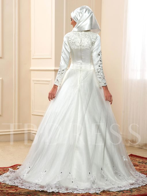 Appliques Sequins Beading Muslim Wedding Dress