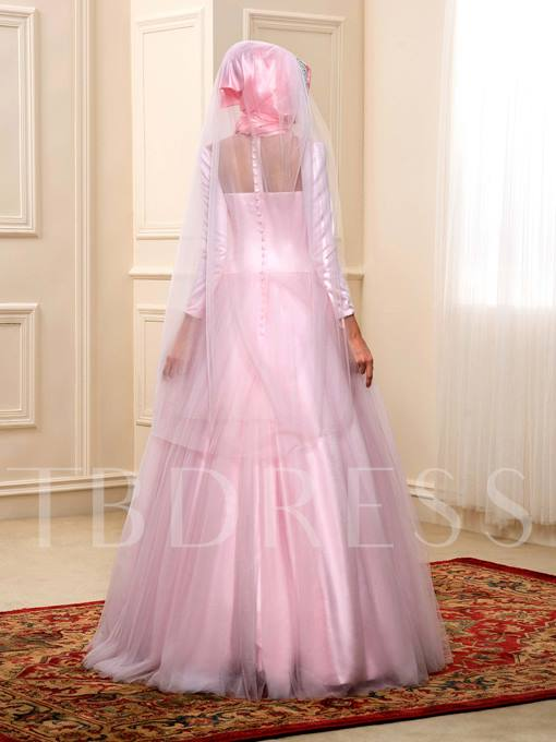 Beading Bowknot Empire Long Sleeves Muslim Wedding Dress with Hijab