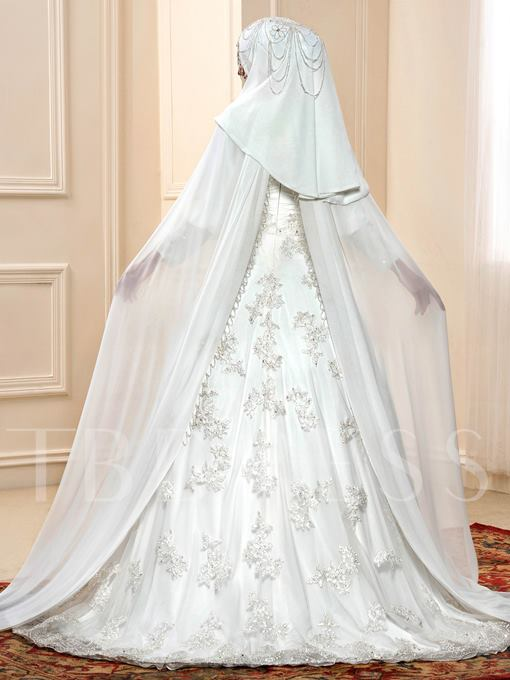 Appliques Beaded Balll Gown Muslim Wedding Dress