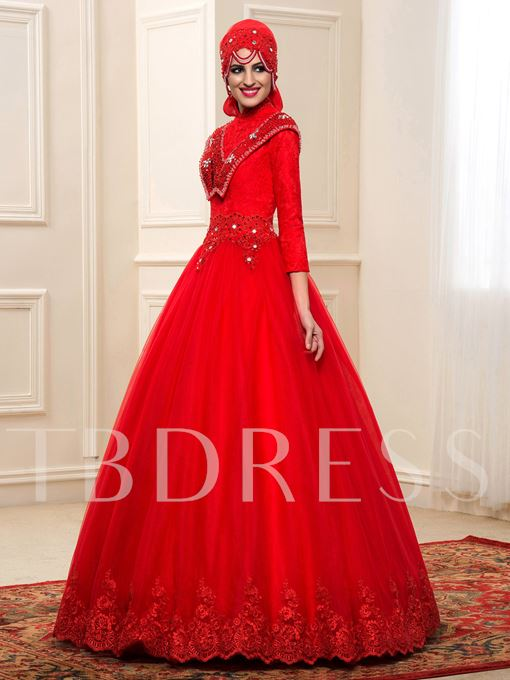 Red Beading Lace Muslim Arabic Wedding Dress with Hijab