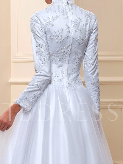 Lace Tulle Beading Sash Long Sleeve A-Line Muslim Wedding Dress