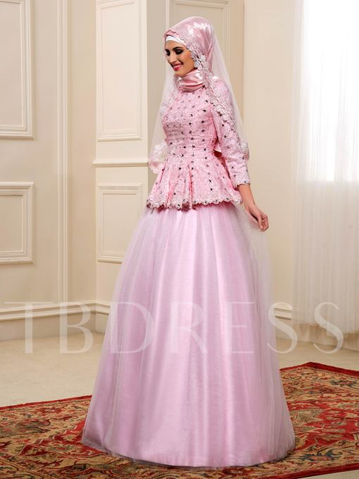 Lace Beading A-Line Tulle Muslim Color Wedding Dress with Hijab