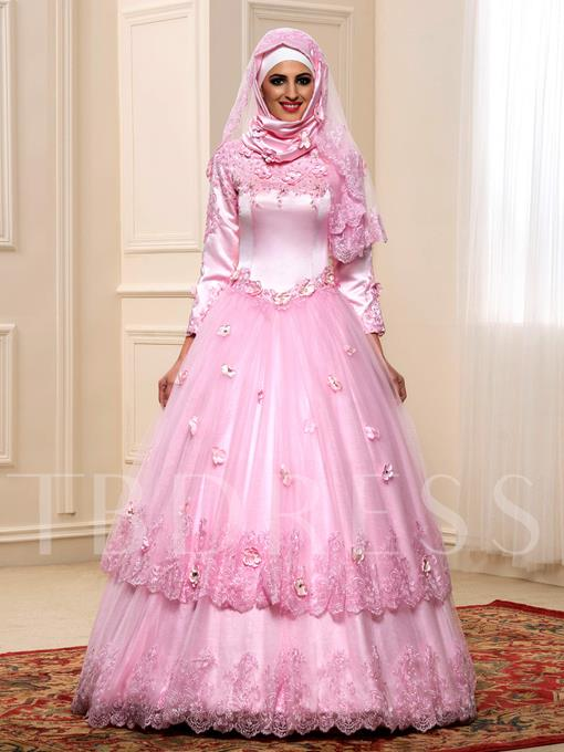 Long Sleeve Ball Gown Flowers Lace Muslim Arabic Wedding Dress in Color