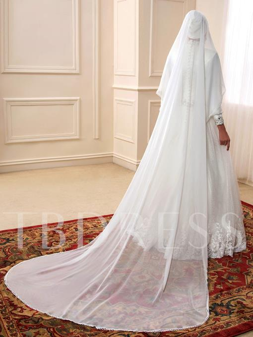 Arabic Sequins Beaded Lace High Neck Muslim Wedding Dress with Hijab