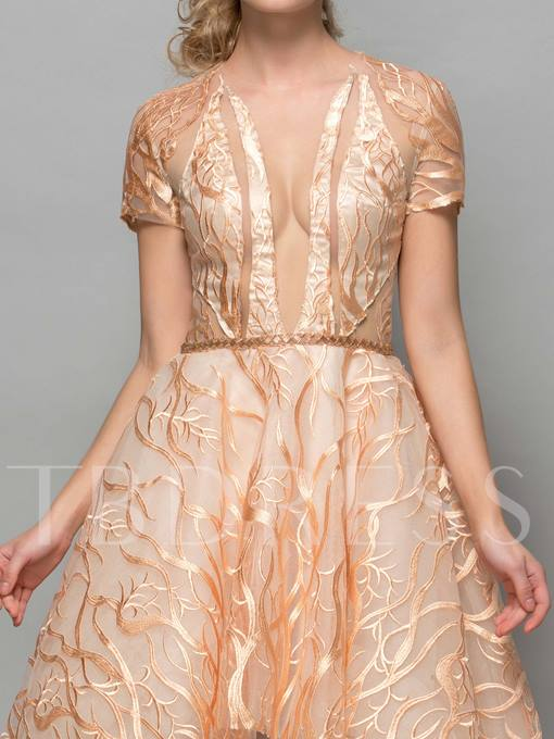 Sheer Neck Asymmetrical Length Appliques Cocktail Dress