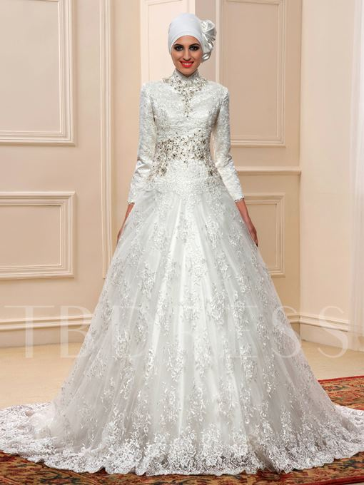 Beaded Long Sleeve Tulle Lace Court Muslim Wedding Dress with Hijab