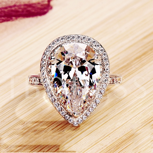 950 Water Droplets Heart-Shaped Ring